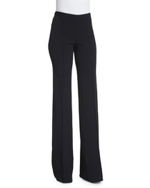 High-Waist Flare-Leg Crepe Pants, Black