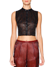 Sleeveless Cropped Leather & Silk Top, Navy