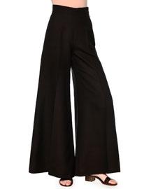 Wide-Leg Silk Cady Trousers, Black