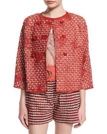 3/4-Sleeve Lattice-Print Leather Jacket, Coral