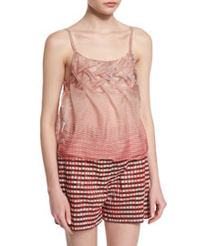 Sleeveless Braided Organza Bird of Paradise Top, Red