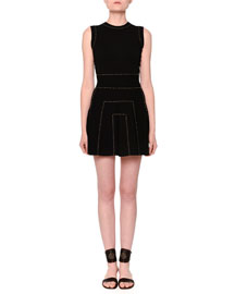 Sleeveless Studded A-Line Dress, Black