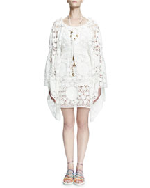 Crocheted Oversized Bell-Sleeve Dress, White