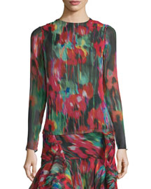 Long-Sleeve Floral-Print Top, Black/Multi