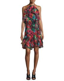 Silk Chiffon Halter Dress, Black/Multi