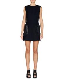 Sleeveless Gazar Dress w/Leather Patch Pockets, Black
