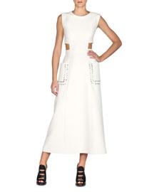 Sleeveless Gazar Midi Dress w/Leather Patch Pockets, White