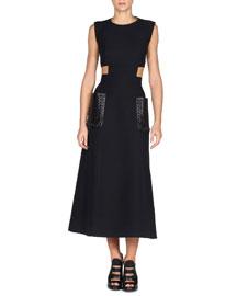 Sleeveless Gazar Midi Dress w/Leather Patch Pockets, Black