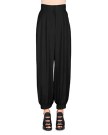 High-Waist Harem Pants, Black