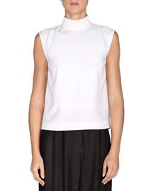 Sleeveless Mock-Neck Open-Back Top, White