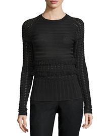 Long-Sleeve Grid Top W/Fringe Trim, Black