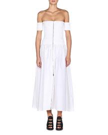 Off-The-Shoulder Zip-Front Dress, White