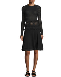 Long-Sleeve Grid Dress W/Fringe Trim, Black