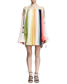 Off-the-Shoulder Rainbow-Striped Tunic Dress