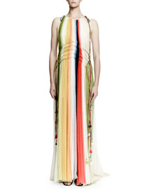 Halter-Neck Ombre Gown, Multi Colors