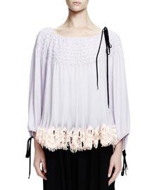 Bracelet-Sleeve Smocked Georgette Top, Lilac