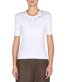 Short-Sleeve Ribbed Floral-Neck Top, White
