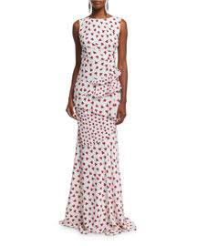 Sleeveless Ruffled Carnation-Print Gown, Ruby