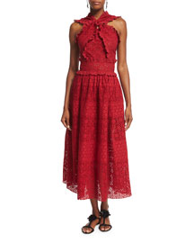Sleeveless Knotted Tea-Length Eyelet Dress, Ruby