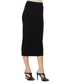 Mid-Rise Midi Pencil Skirt, Black