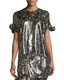 Ruffled Short-Sleeve Metallic Top