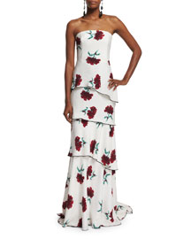 Strapless Carnation-Print Silk Gown, Ruby