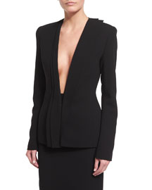 Asymmetric Pleated Collar Suit Jacket, Black