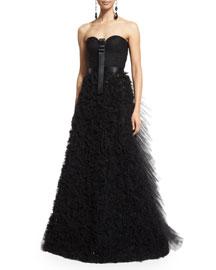 Strapless Embellished-Skirt Gown, Black