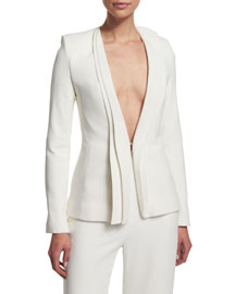 Pleated-Collar Plunge-Neck Suit Jacket, White