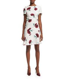 Short-Sleeve Round-Neck Floral Silk Day Dress, Ruby
