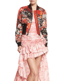 Printed Silk Bomber Jacket, Red
