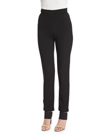 High-Waist Cropped Cigarette Pants, Black