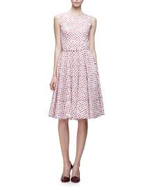 Sleeveless Jewel-Neck Fil Coupe Dress, White