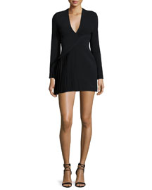 Long-Sleeve Suit Mini Dress, Black