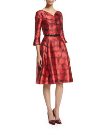 3/4-Sleeve Fit-&-Flare Day Dress, Ruby
