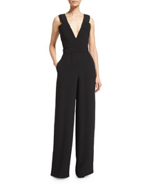 Sleeveless Wide-Leg Jumpsuit, Black