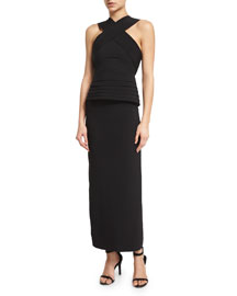 Halter-Neck Layered Peplum Midi Dress, Black