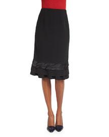 Ribbon-Trimmed Crepe Skirt, Black
