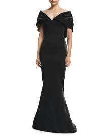 Off-The-Shoulder Mermaid Gown, Licorice