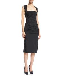 Sleeveless Ruched Radzimir Dress, Black