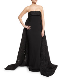 Finale Strapless Crepe Lace Cape-Back Gown, Black