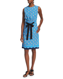 Sleeveless Printed Cotton Tie-Waist Dress, Caribbean