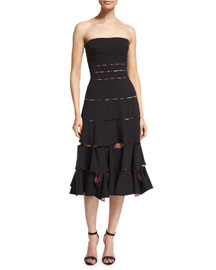 Strapless Peek-A-Boo Cocktail Dress, Liquorice/Primrose