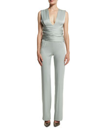 V-Neck Satin Wrap Jumpsuit, Mint
