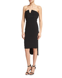 Strapless Pleat-Back Crepe Cocktail Dress, Black