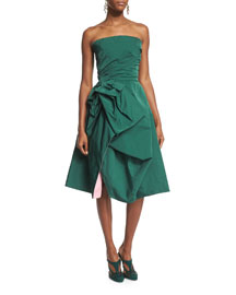 Strapless Pleated Taffeta Cocktail Dress, Green/Rose