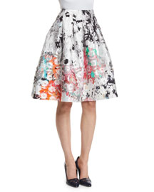 Floral-Print Matelasse Party Skirt, White/Multi