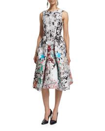 Sleeveless V-Back Printed Silk Dress, White/Multi