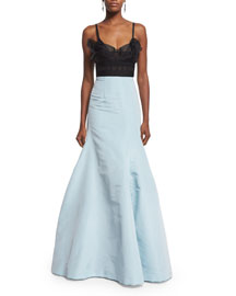Spaghetti-Strap Bustier Combo Gown, Black/Aqua