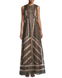 Sleeveless A-Line Lace Gown, Black/Nude